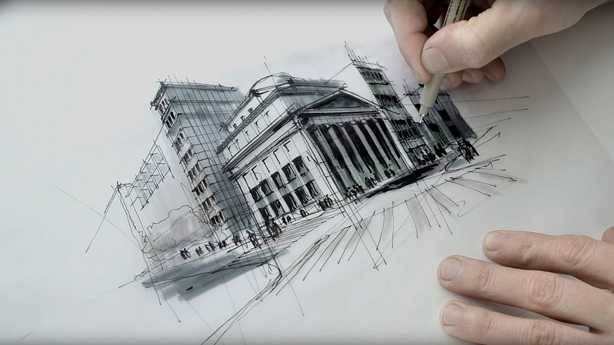 Sketching the Museum of Ice Cream, US - a drawing tutorial by Dan Hogman