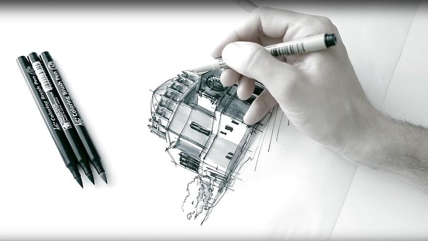 Sketching the Wilshire Boulevard Temple - a drawing tutorial by Dan Hogman
