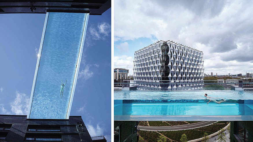 Sky Pool floats against London skies as an unmatched swim experience in clear acrylic