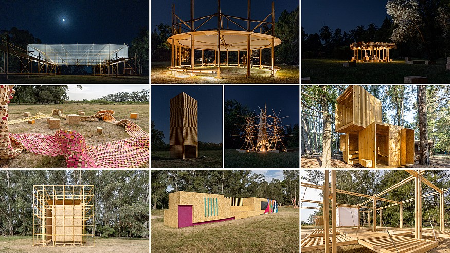 Installations at Hello Wood Festival in Argentina discuss the theme 'superposition'