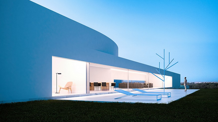 Split into two volumes, Coimbra-Steinman House offers distant views of Lisbon
