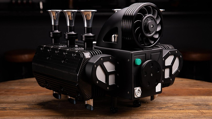 Espresso Veloce RS Black Edition coffee maker is a super car inspired engine-art