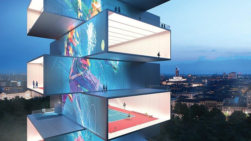 """Carlo Ratti Associati designs a """"see-through"""" skyscraper for sports in Turin, Italy"""