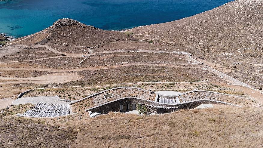 Xerolithi House seamlessly blends into the hillscape of Serifos island in Greece