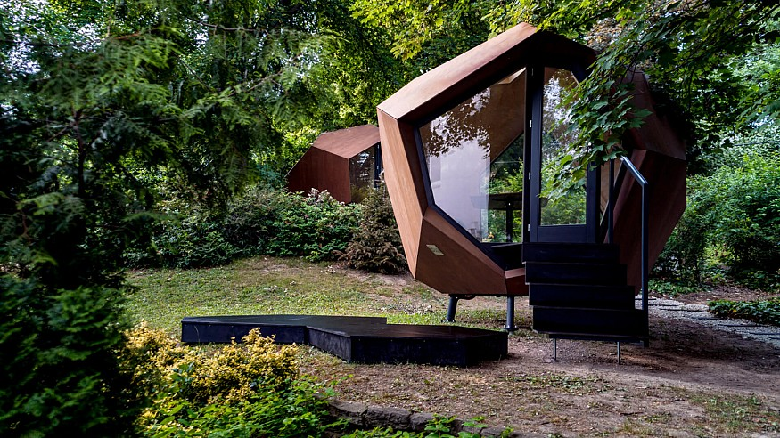 Budapest's Hello Wood designs a 10 sqm pebble-shaped work-from-home pod
