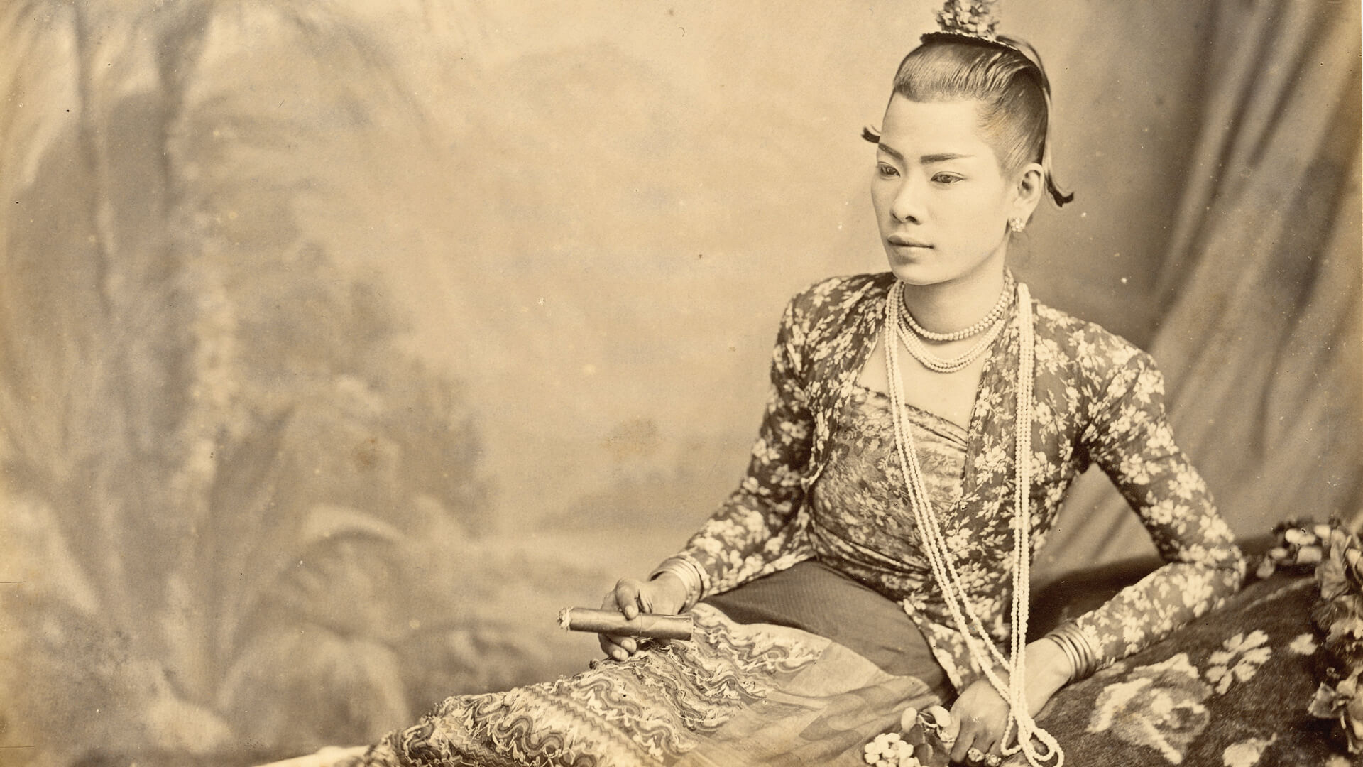 'A portrait of a Lady Boy Smoking' by Emile Gsell between the 1870s and 1890s in Burma | (Re)Imagining the Image: Contemporary Artists in Asia Converse with Photography | Emile Gsell | STIRworld