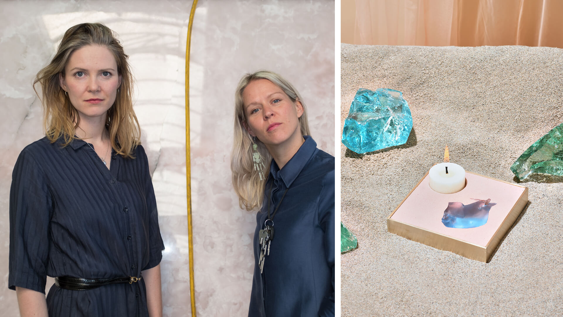 (L): Anja Langer and Marie Jeschke of Berlin-based artist duo Jeschkelanger, and (R): architectural material Basis Rho as a candle-holder | Basis Rho by Jeschkelanger | STIRworld