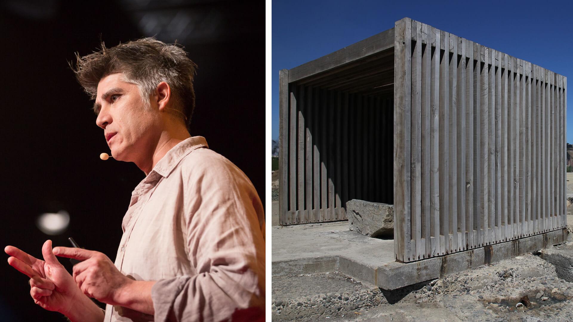 (L): Pritzker Prize laureate Alejandro Aravena giving a presentation, (R): Work underway at the Constitucion housing in Chile | Alejandro Aravena | Elemental | STIRworld
