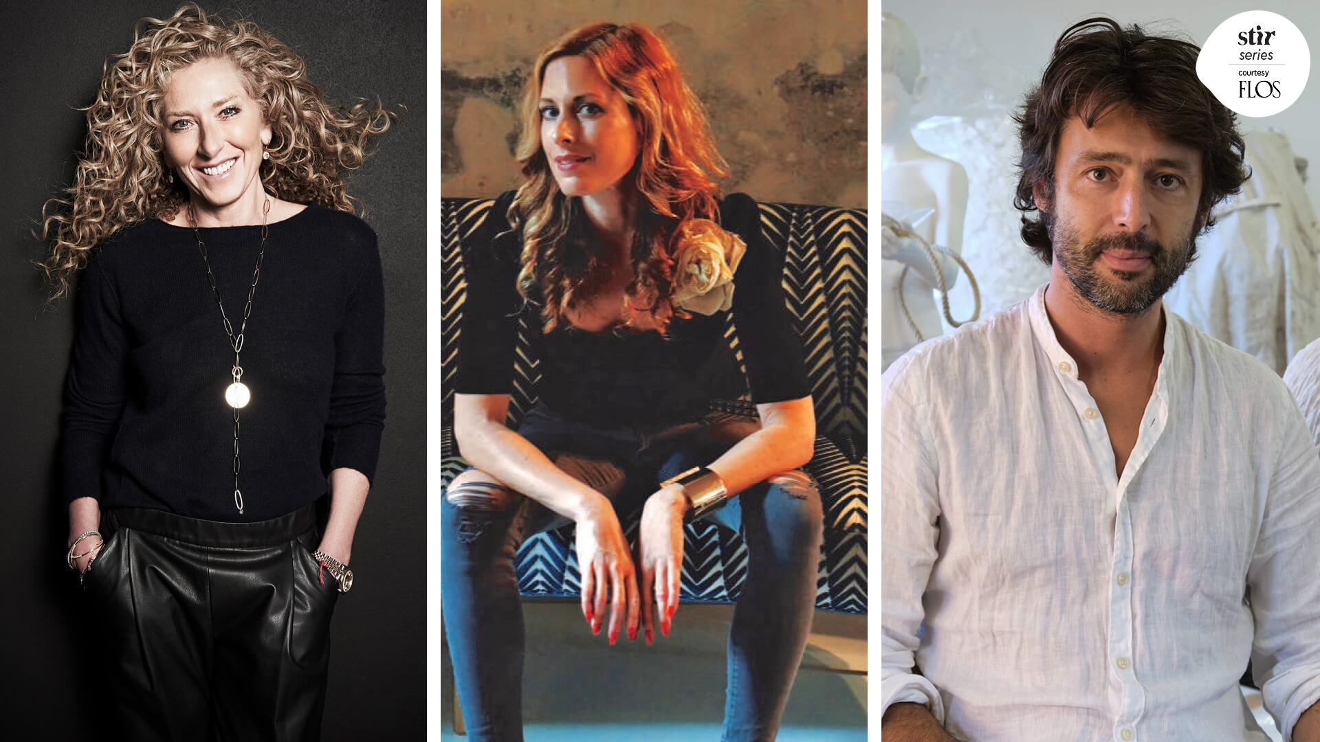 Miss You, Milan: Kelly Hoppen, Nika Zupanc, Marcantonio Malerba in reflection