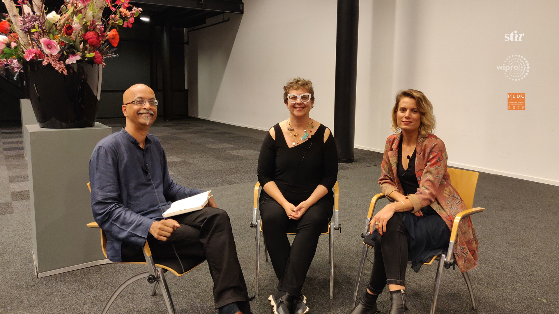 (L-R) Linus Lopez in conversation with artist and sculptor Janet Echelman and light artist Amanda Szabo, for Spread the Light  | Janet Echelman | Amanda Szabo| PLDC 2019| Spread the Light | STIRworld