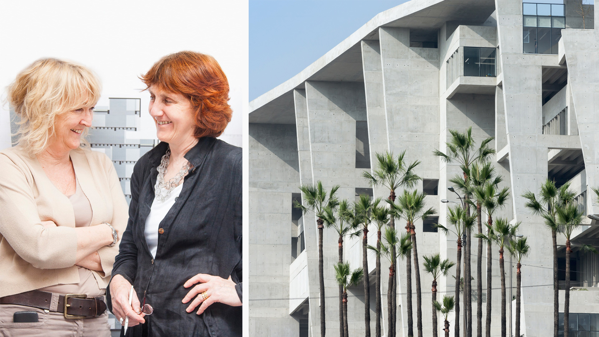 (L): The 2020 Pritzker Architecture Prize laureates Yvonne Farrell and Shelley McNamara, and (R): University Campus, UTEC Lima, Peru (2015) | 2020 Pritzker Architecture Prize | Yvonne Farrell, Shelley McNamara | STIRworld