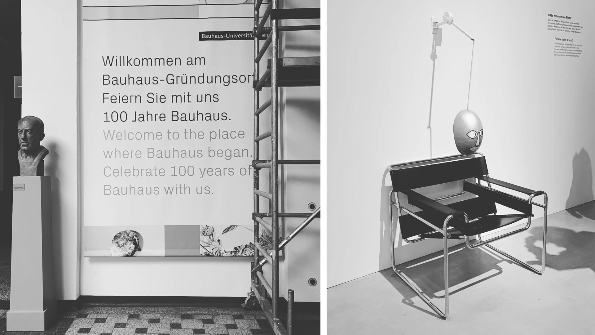(L) Walter Gropius's bust at the Bauhaus Wiemar campus, (R) Recreating the most famous Bauhaus picture at the 'Original Bauhaus' exhibition at Berlin | Bauhaus | Germany | STIRworld