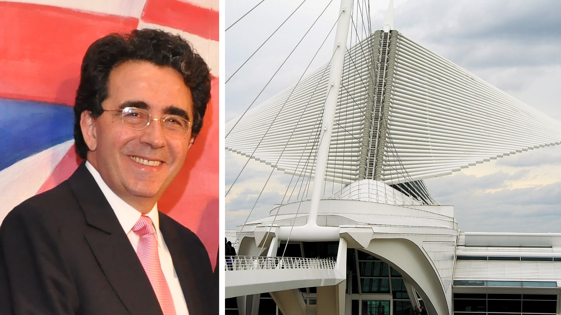 (Left): Spanish architect Santiago Calatrava Valls and (right) his Quadracci Pavilion at the Milwaukee Art Museum | Santiago Calatrava | STIRworld