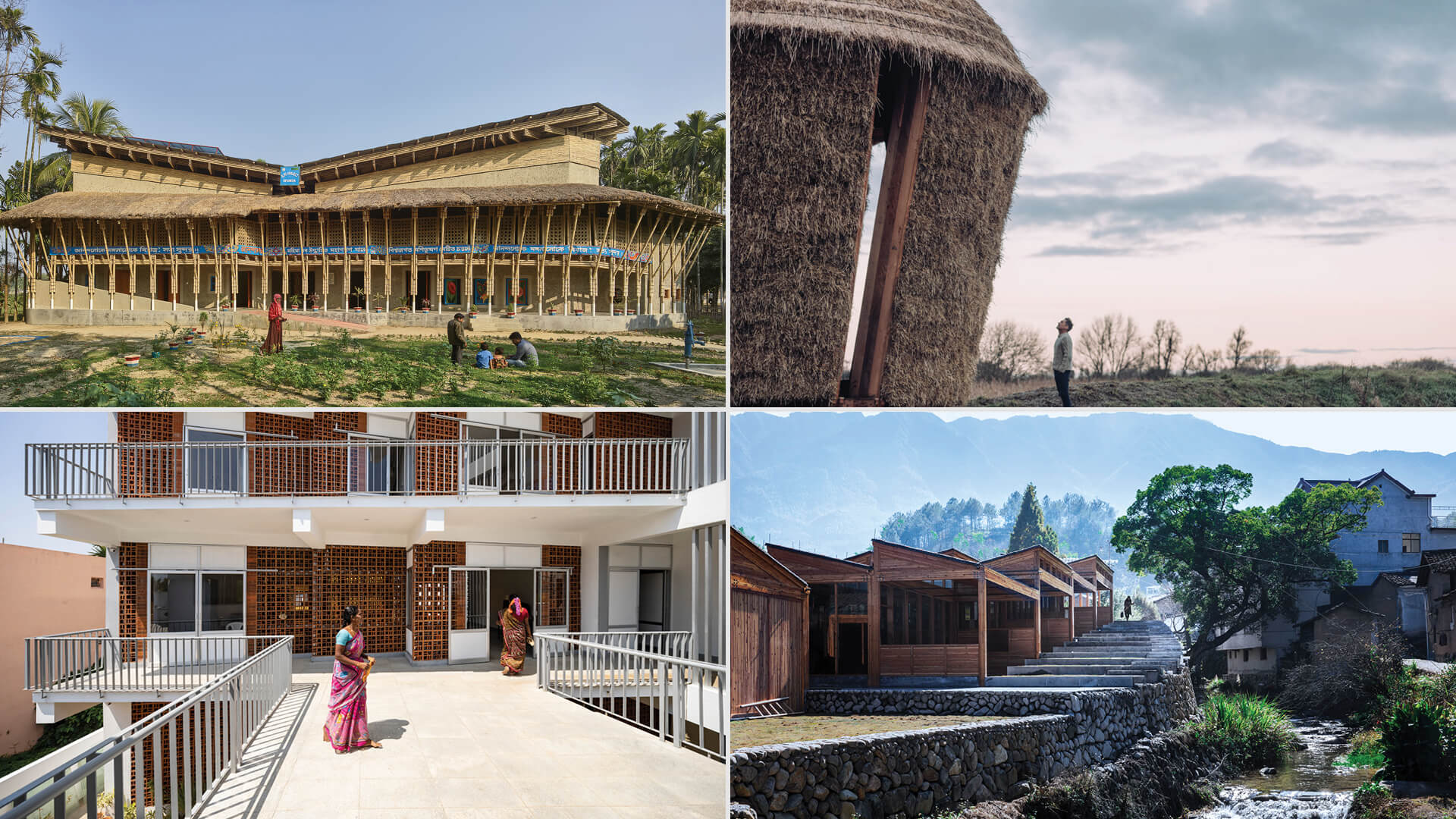 (Top L-R)Anandaloy by Anna Heringer and Mother by Studio Morison, (Bottom L-R) Sharana Daycare Centre by Anupama Kundoo and Tofu Factory by DnA_Design and Architecture | RIBA + VitrA Architecture Anew Talks | STIRworld