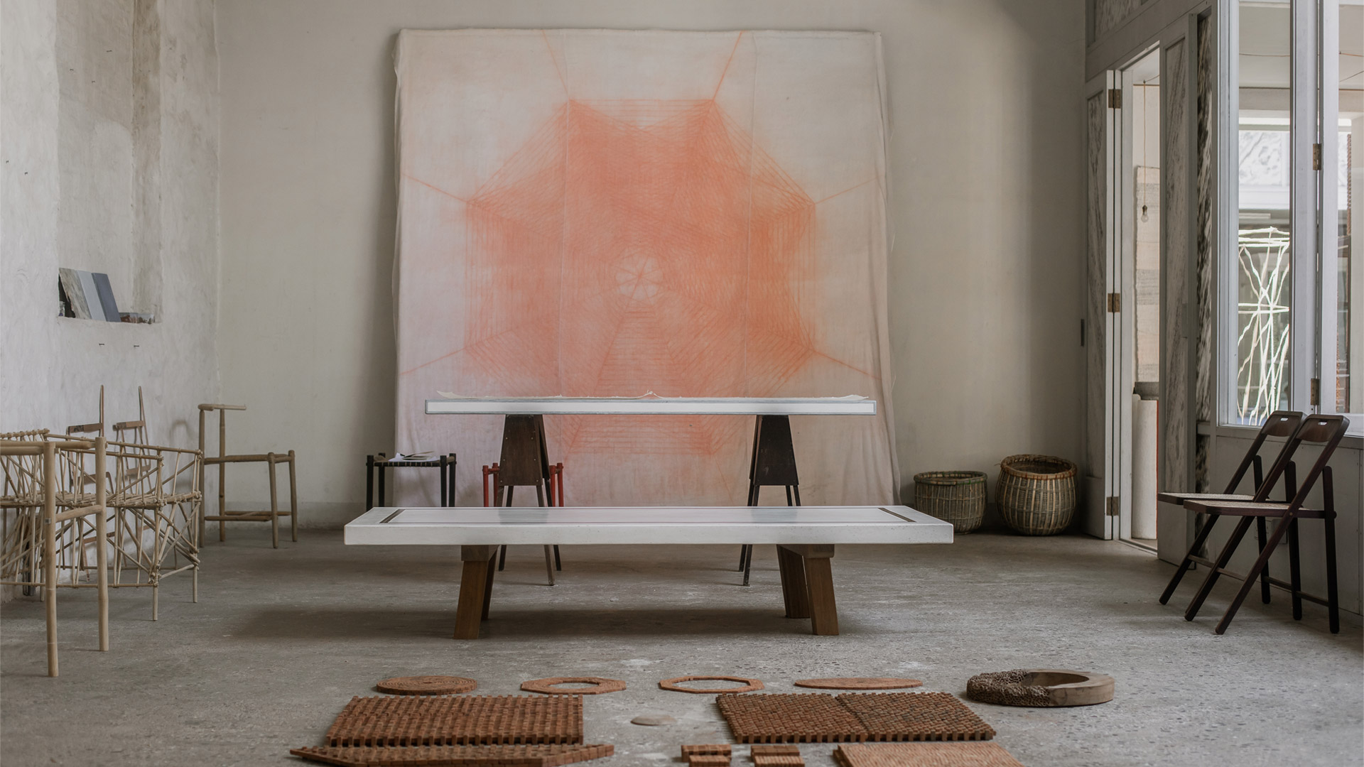 Studio Mumbai latest exhibition at gallery Maniera showcases products fashioned from rudimentary materials like stone, brick and cowdung, and subtle ones like textile, glass and Japanese washi paper.