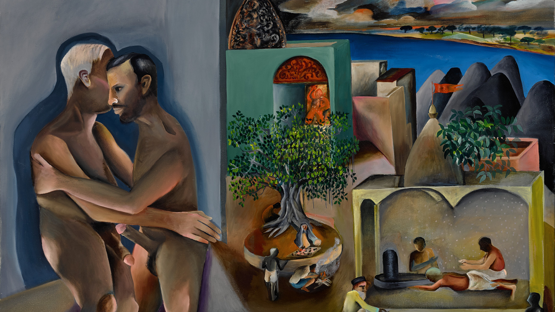 Bhupen Khakhar, Two Men in Benares, oil on canvas, 1982, est. £450,000-600,000| Sotheby's| STIR