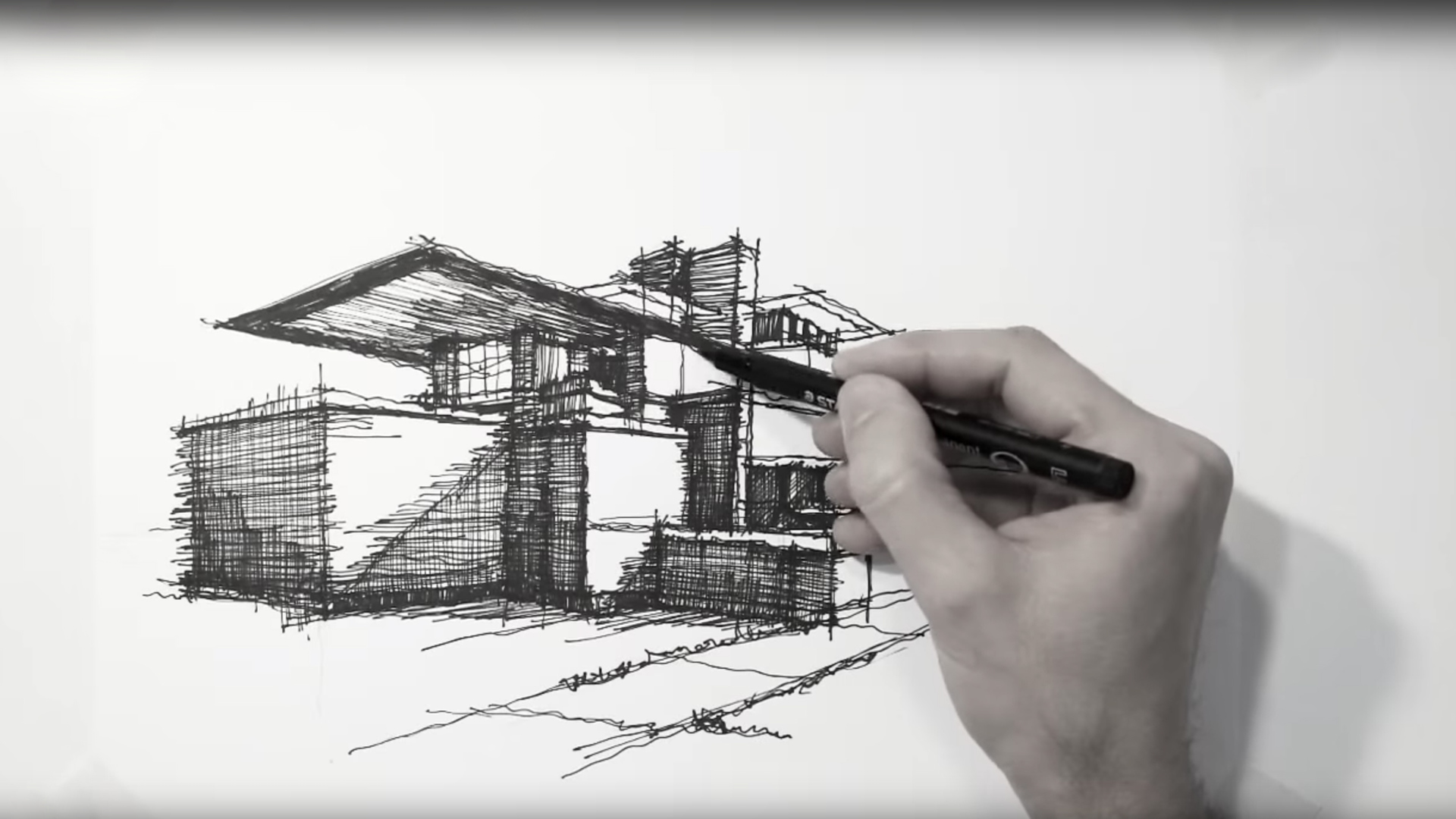 Sketching Wright's Robie House – a drawing tutorial by Dan Hogman
