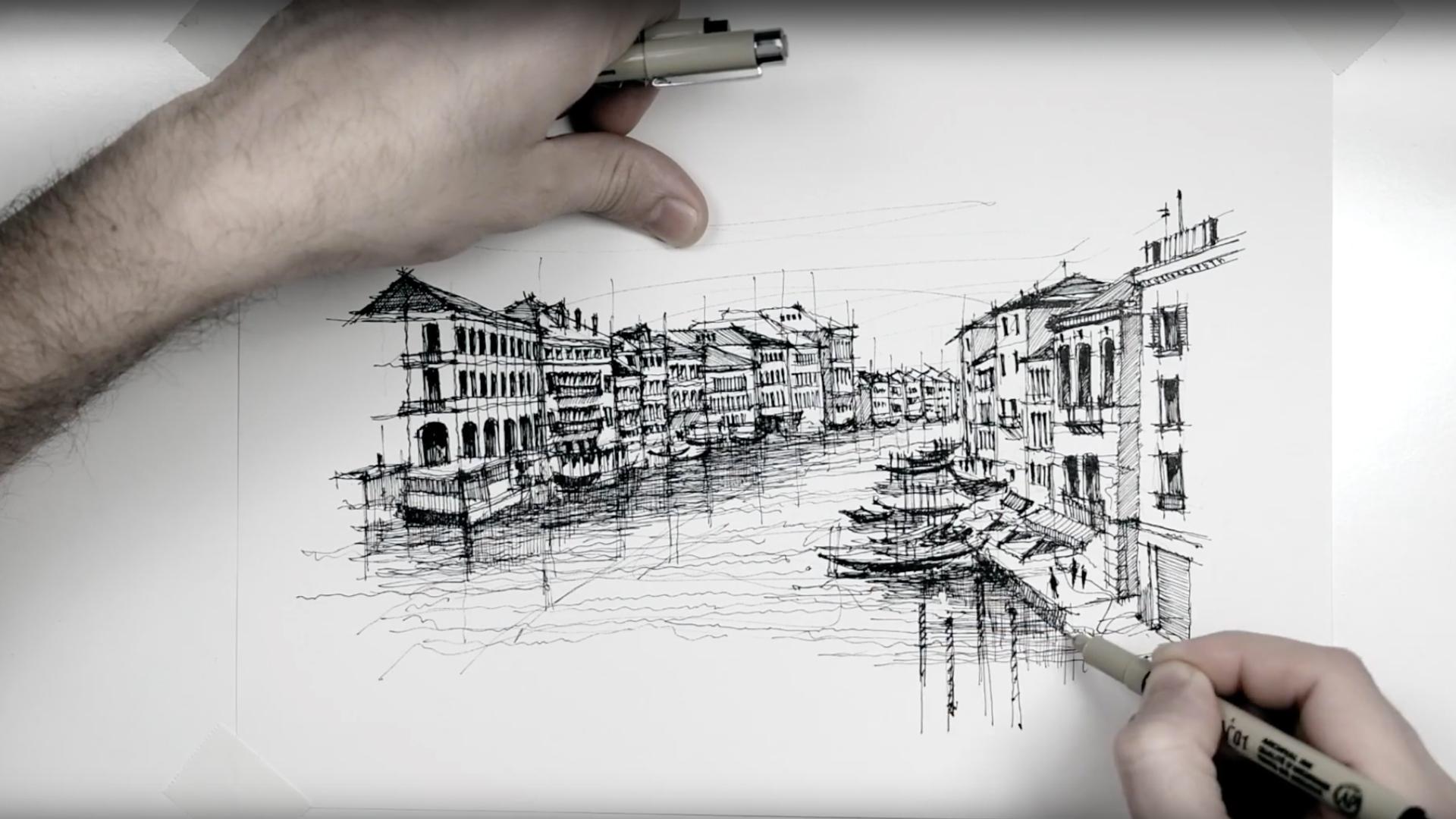 Sketching a Venetian panorama - a drawing tutorial by Dan Hogman