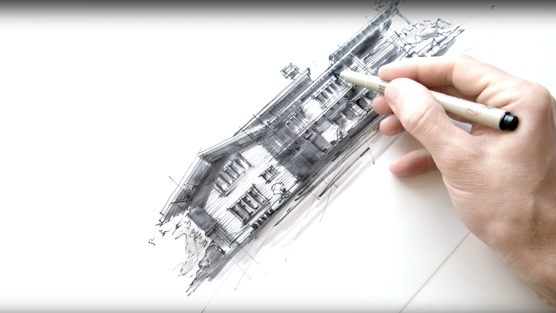 Sketching the Gamble House, California - a drawing tutorial by Dan Hogman