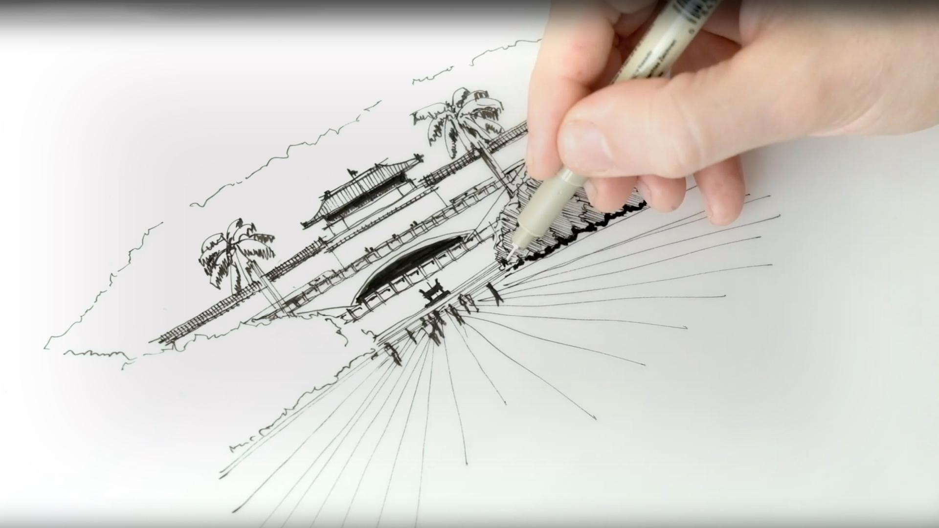 Sketching the National Palace Museum, Taipei - a drawing tutorial by Dan Hogman