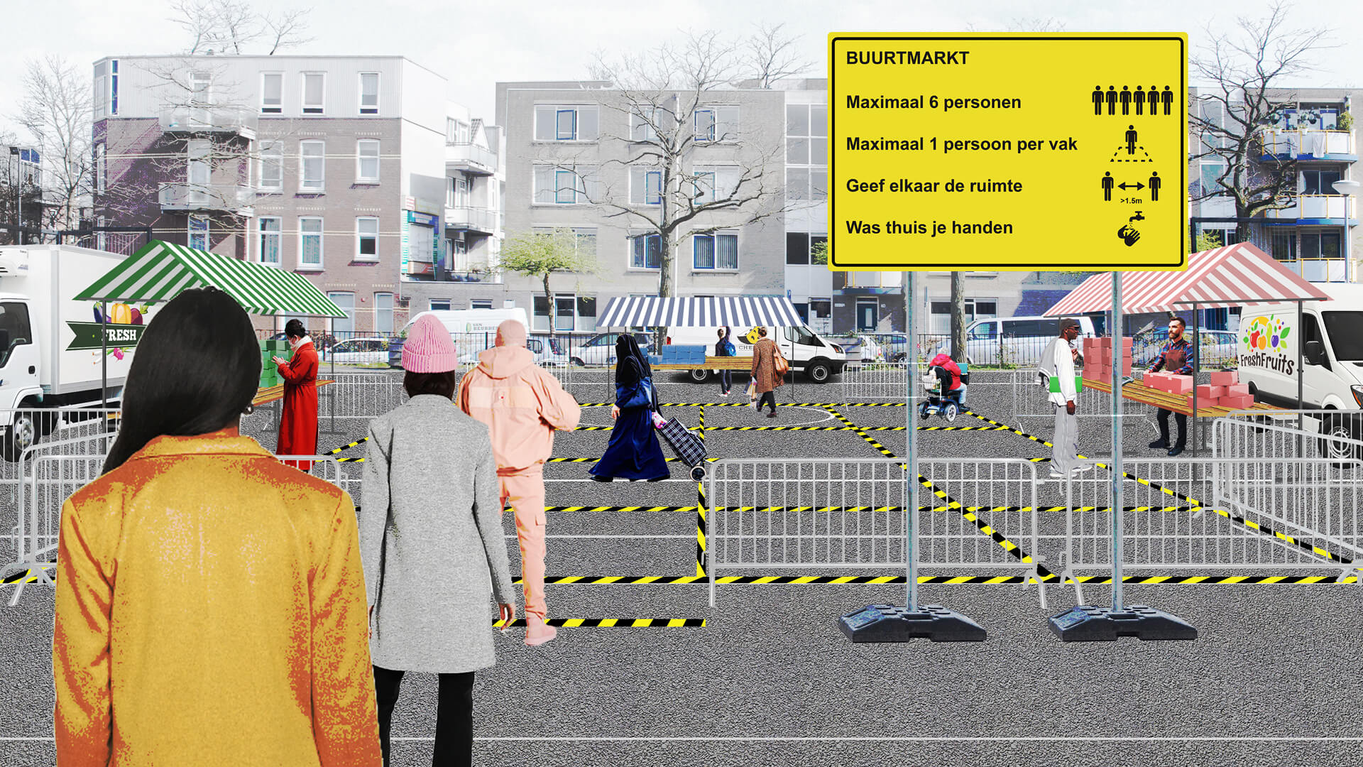 A representation of the proposed micro-market with rules displayed at the entrance | Hyperlocal micro-markets in shutdown realities | Shift architecture urbanism | STIRworld