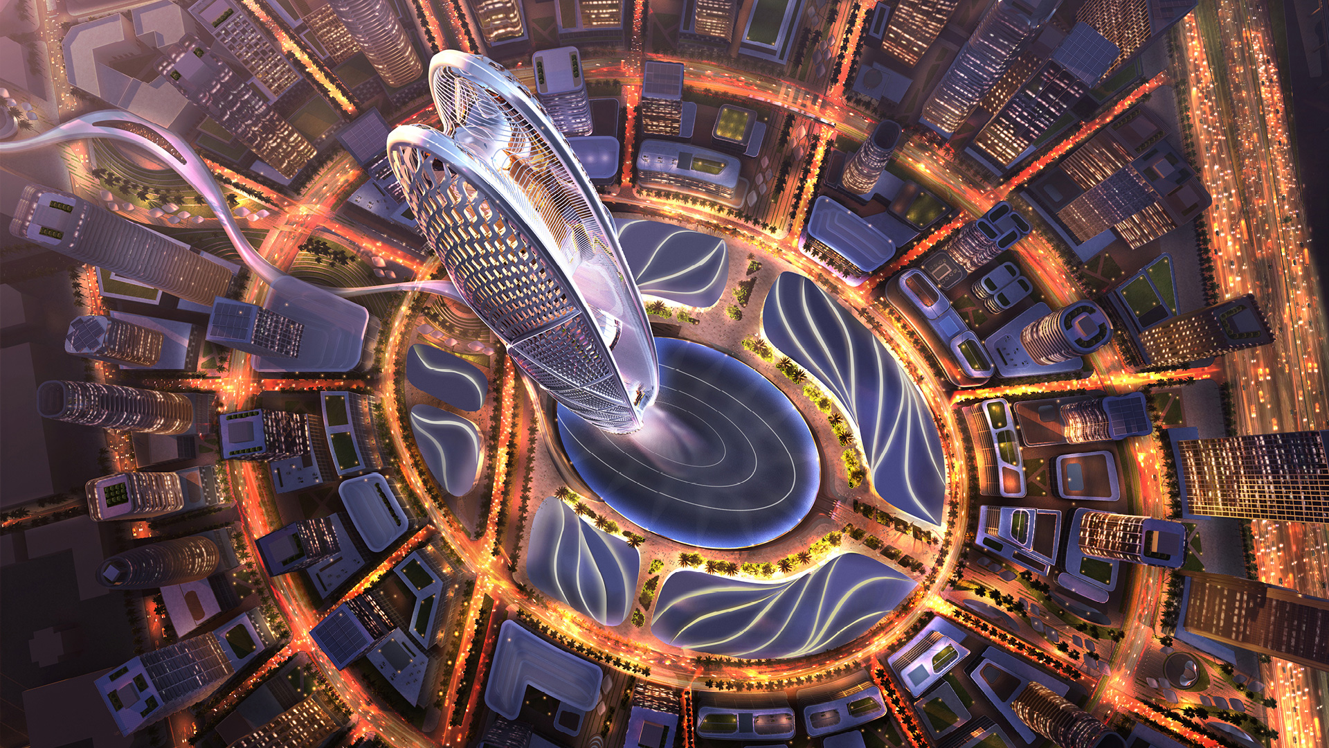 Aerial view – night time rendering of the Burj Jumeira| Skidmore, Owings & Merrill LLP| STIR