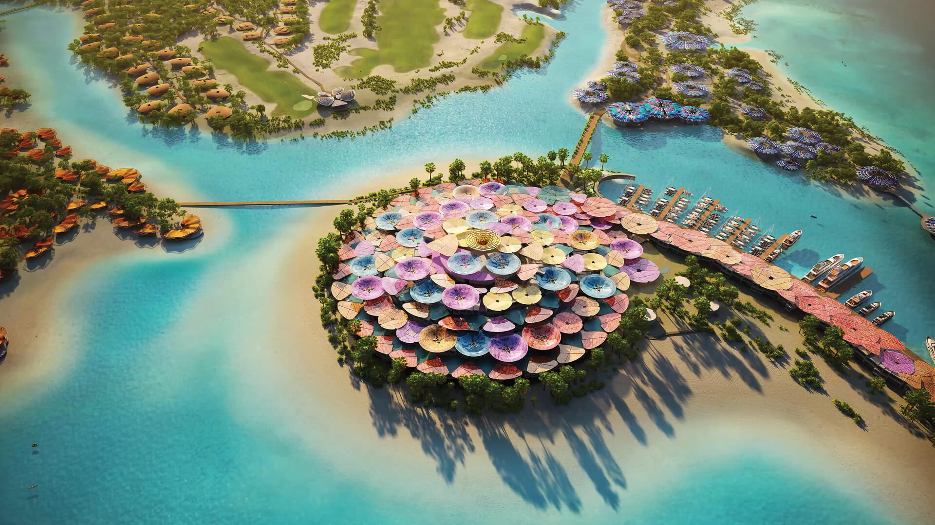 Aerial view of the Coral Bloom luxury resort imagined by Foster + Partners | Foster + Partners imagines the Coral Bloom Resort for TRSDC | STIRworld