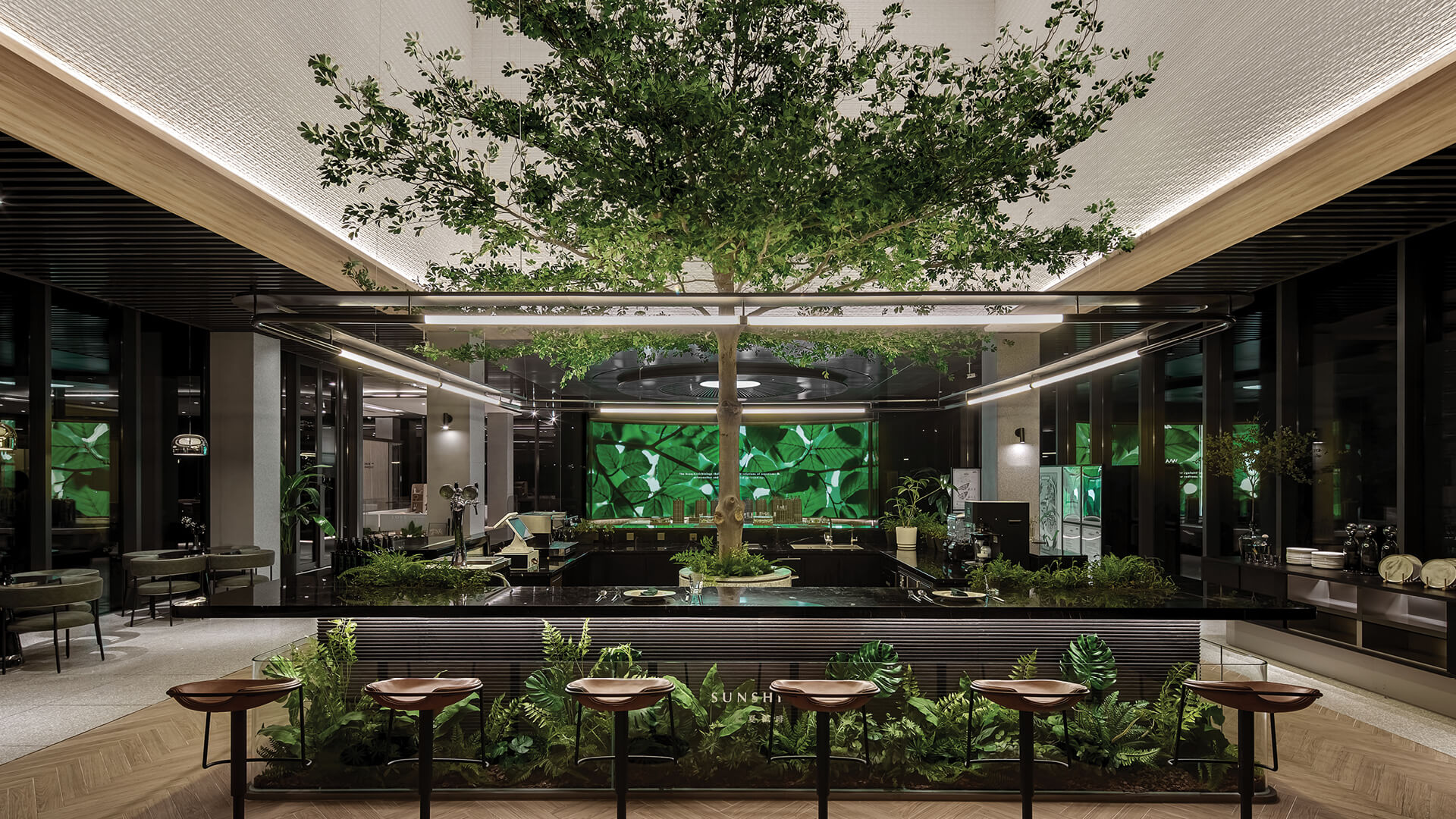Karv One Design emulates a forest after a shower inside Afterain restaurant