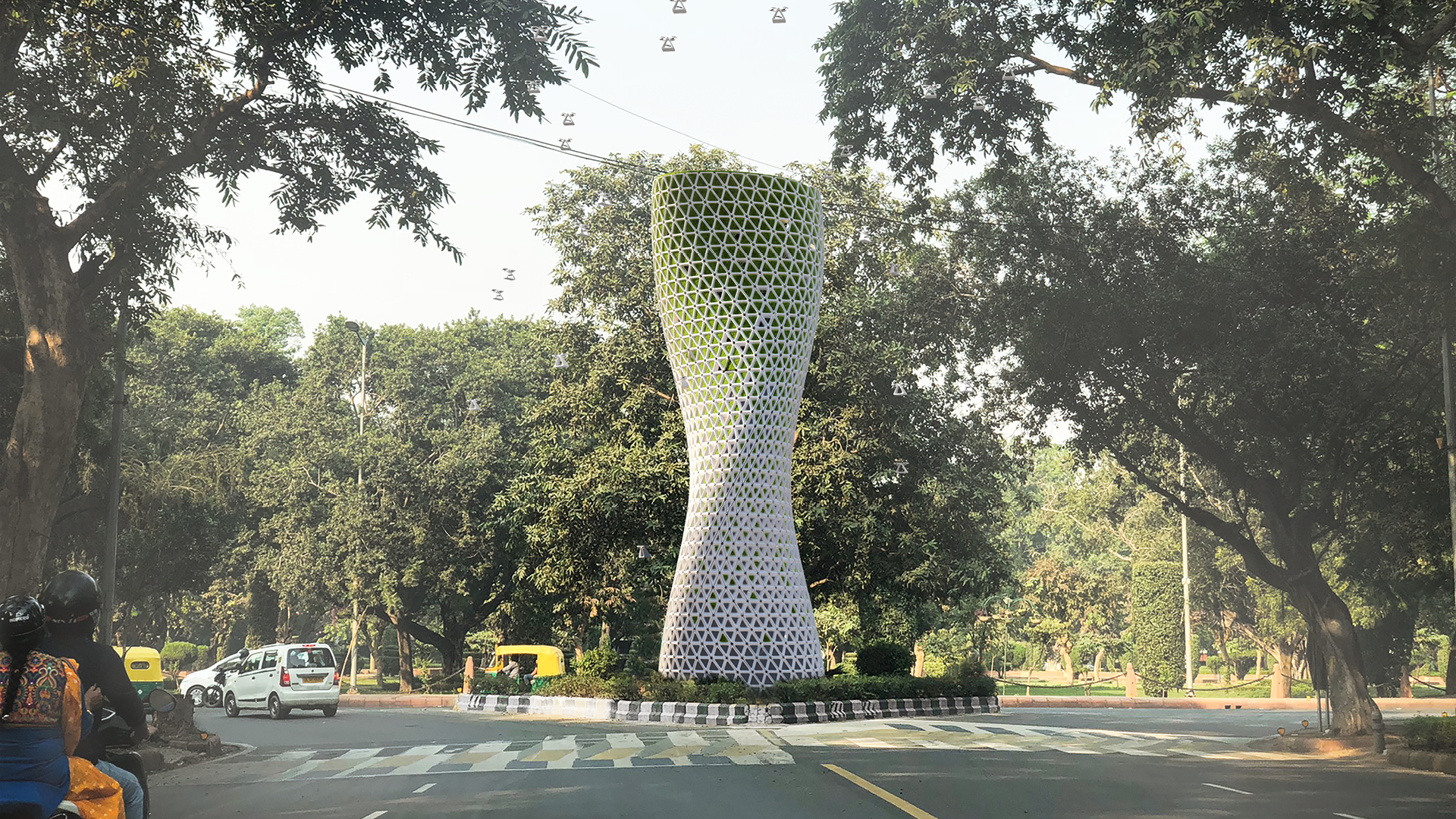 Breathing lungs for Delhi: Aũra towers and drones by Studio Symbiosis