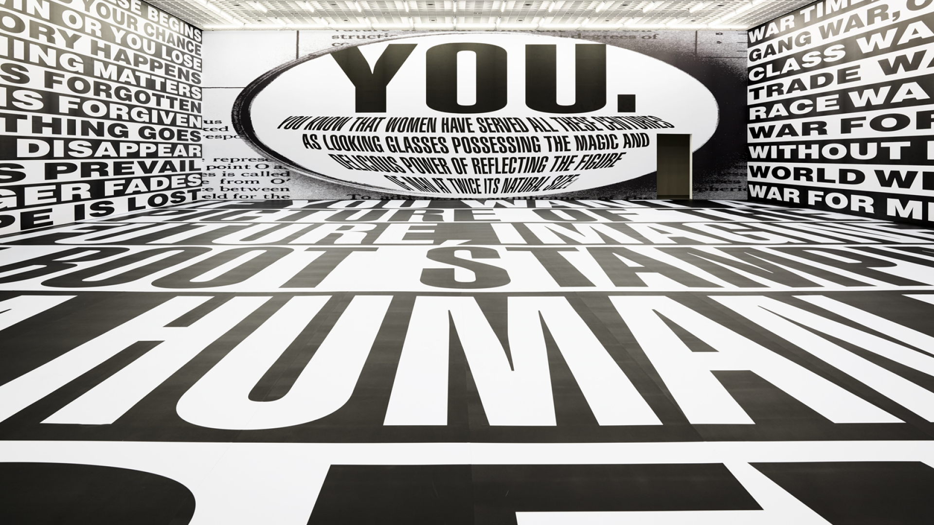 Barbara Kruger, Untitled (Forever), 2017, Digital print on vinyl wallpaper, dimensions variable (570 x 2,870 x 1,830 cm) | Barbara Kruger | STIRworld