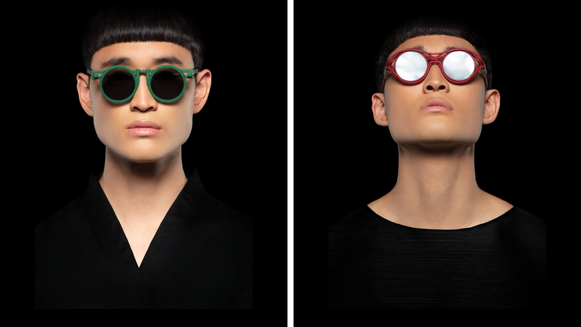 CL0013 in green and CL0015 in red from the capsule collection by Kengo Kuma in collaboration with Portugese eyewear brand VAVA  | VAVA x Kengo Kuma eyewear capsule collection | STIRworld