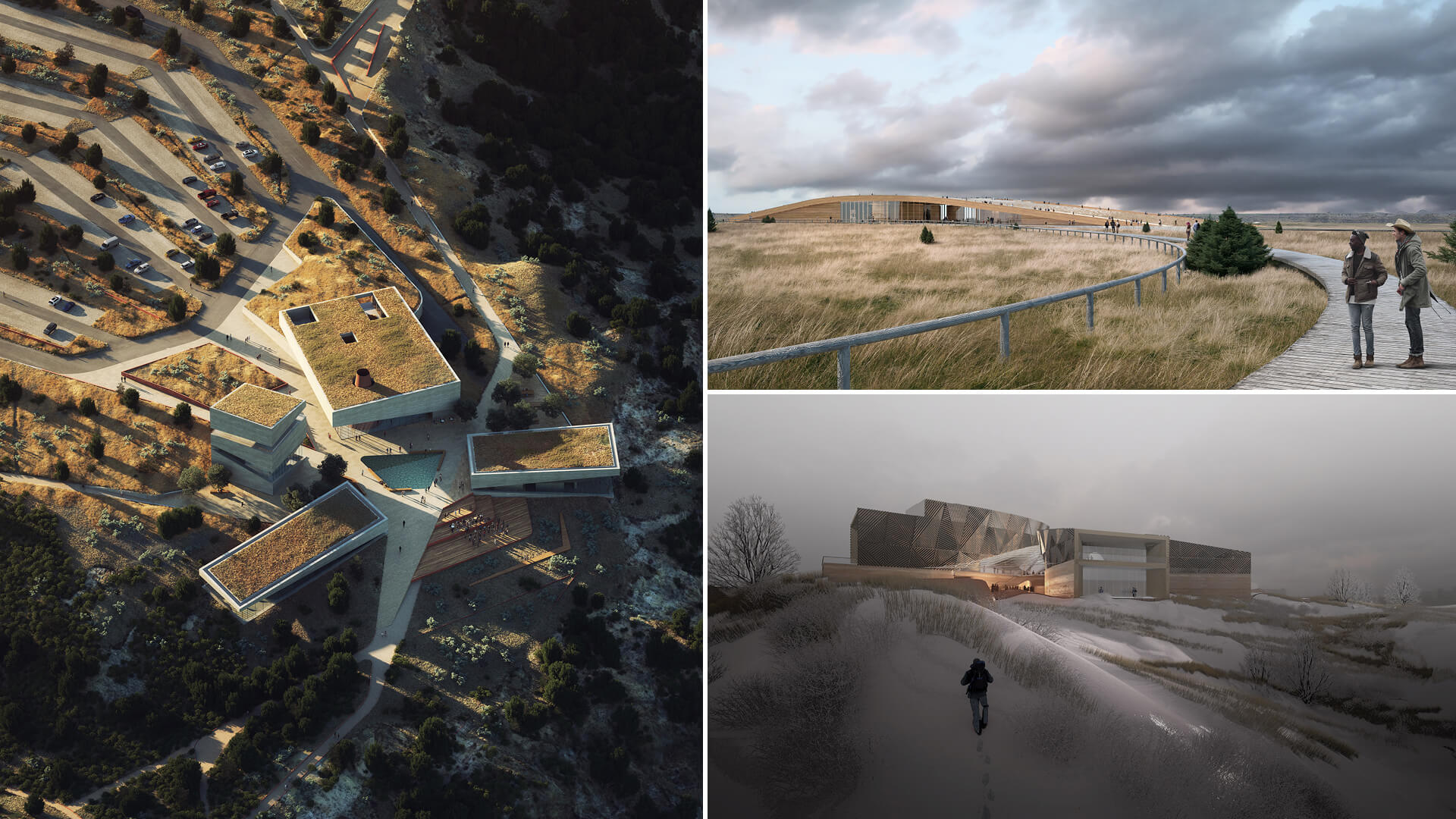 Design proposals for Theodore Roosevelt Presidential Library by Henning Larsen, Studio Gang and Snøhetta respectively | STIRworld