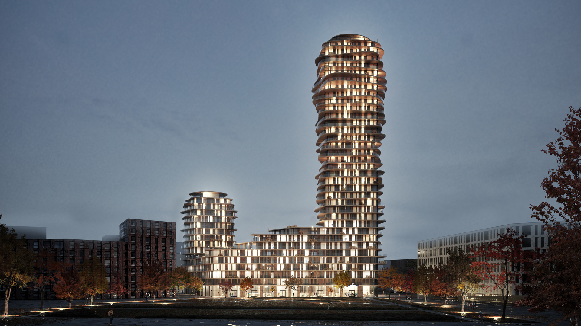 Discus – night view from the park | Discus| Belatchew Arkitekter| STIR