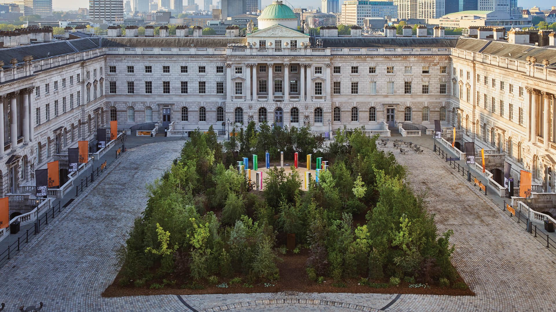 Es Devlin's 'Forest for Change' overtakes Somerset House courtyard with 400 trees