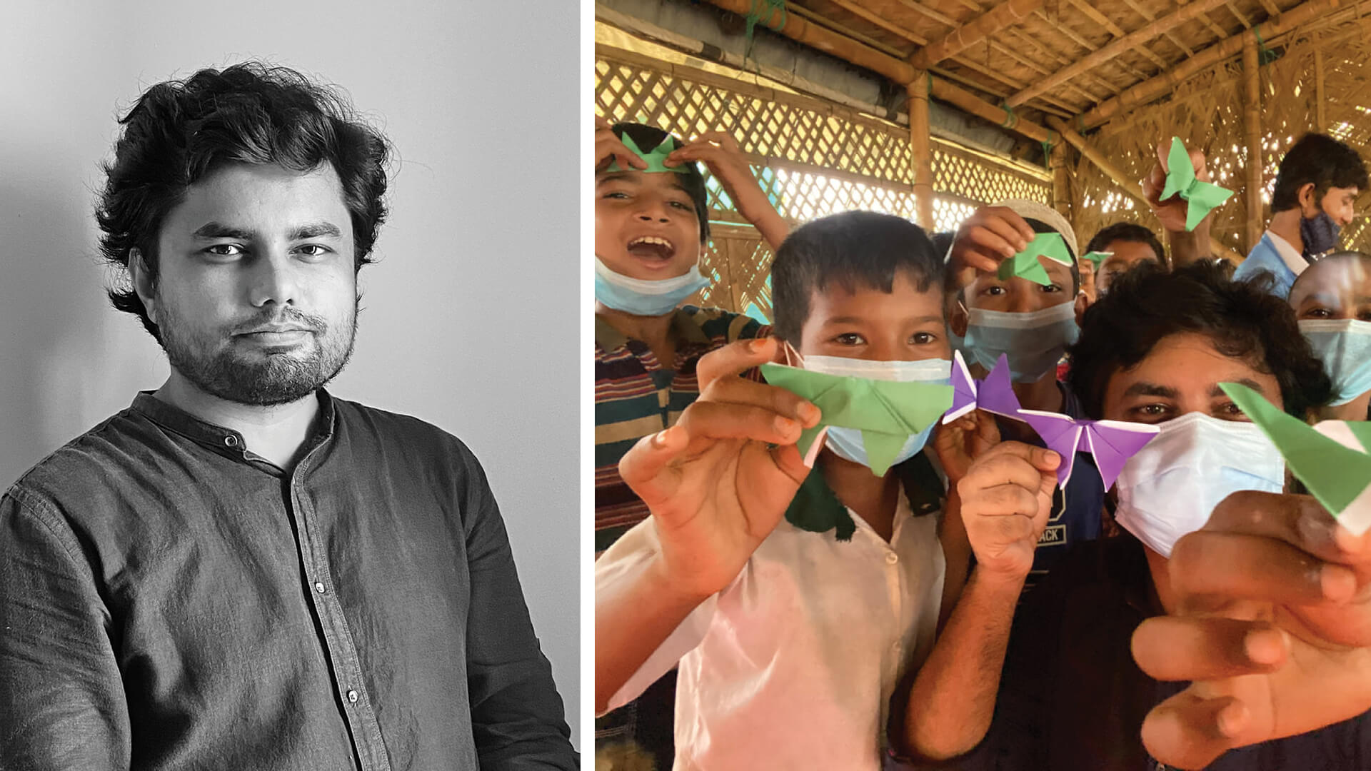 Left: Bangladesh-based architect Rizvi Hassan, and right: the architect during a workshop with children from Camp 18 | Rizvi Hassan | Bangladesh | STIRworld