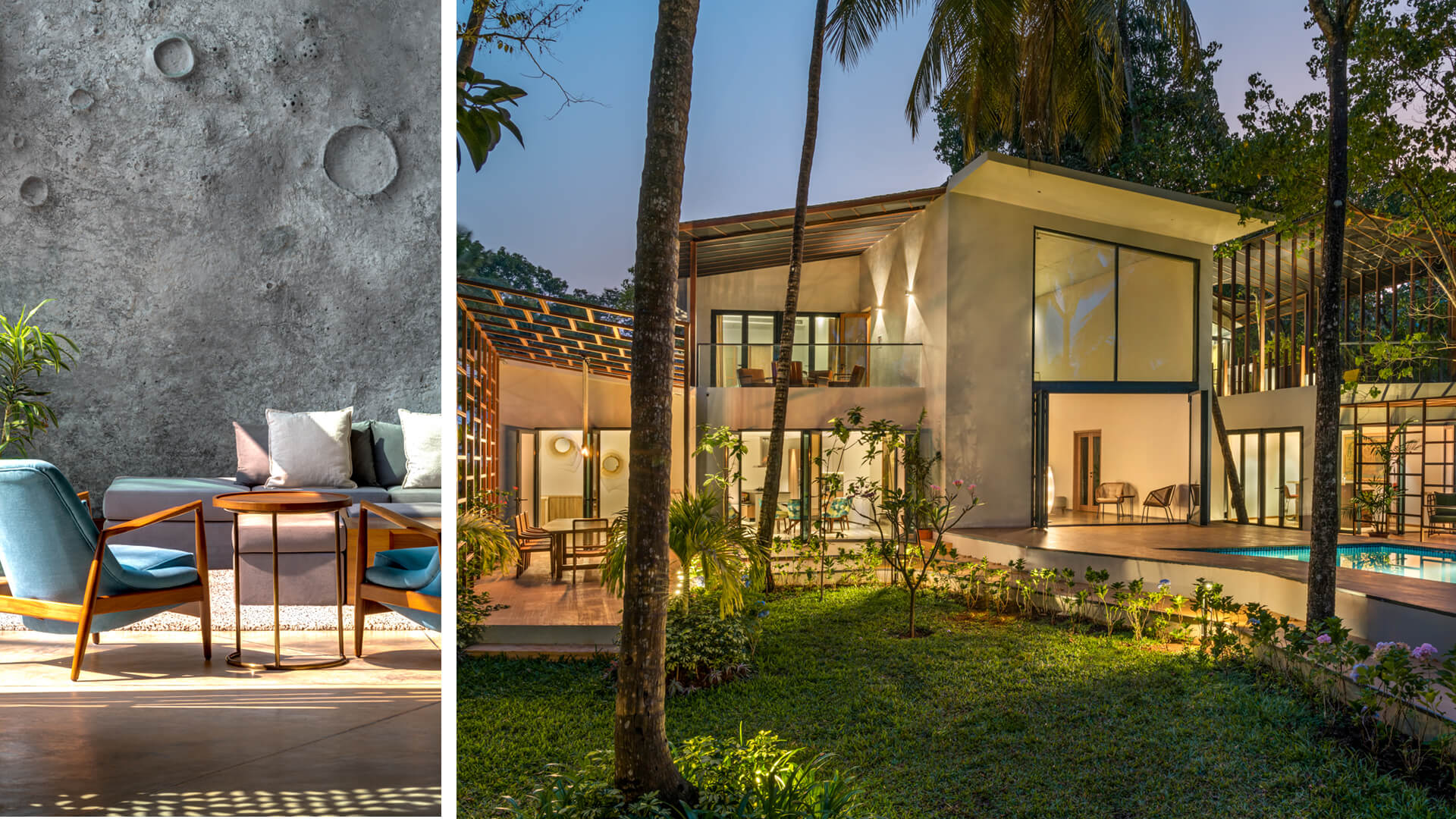 Left: Lua house's modern interiors, (right): an overview of Terra house encapsulating its outdoor-indoor fusion concept | Lua and Terra Si-oul villas by Kriss Real Estate and SAV architects | STIRworld