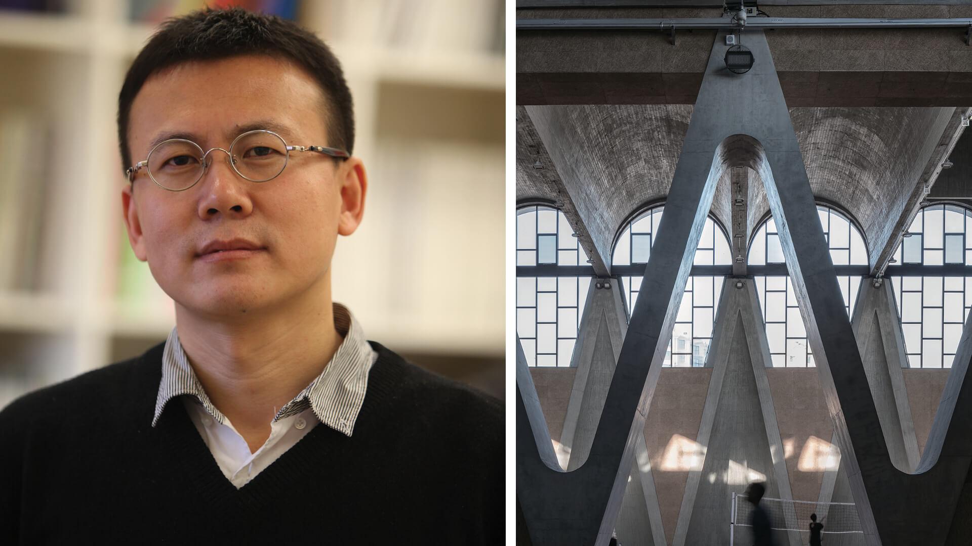 Left: Portrait of Li Xinggang; Right: Gymnasium of New Campus of Tianjin University - Hall 2 and Hall 1 | Gymnasium at the New Campus of Tianjin University | Li Xinggang | STIRworld