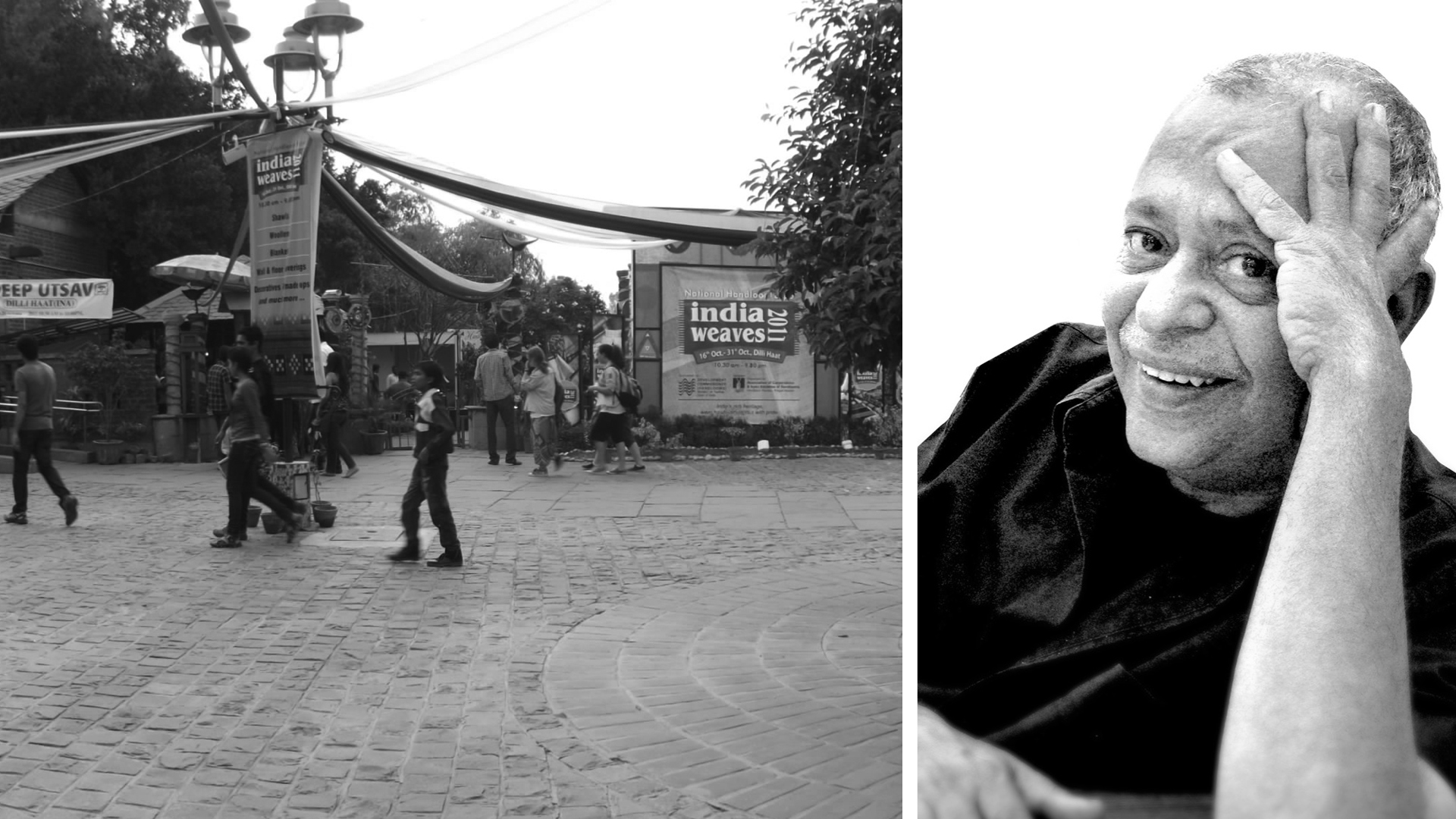 Left: The entrance to Dilli Haat; Right: Pradeep Sachdeva from a photograph clicked in October 2008  | Tribute to Pradeep Sachdeva | STIRworld