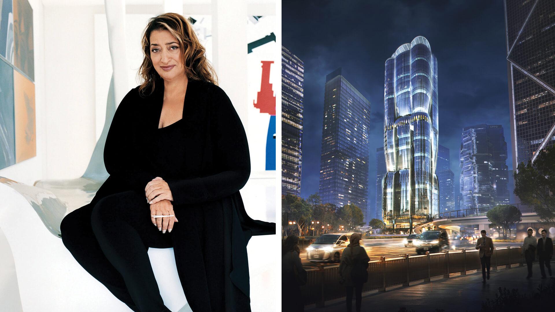 Left: Zaha Hadid, Right: Project on 2 Murray Road, Hong Kong (ongoing) | Bidisha Sinha | Zaha Hadid birthday tribute | STIRworld