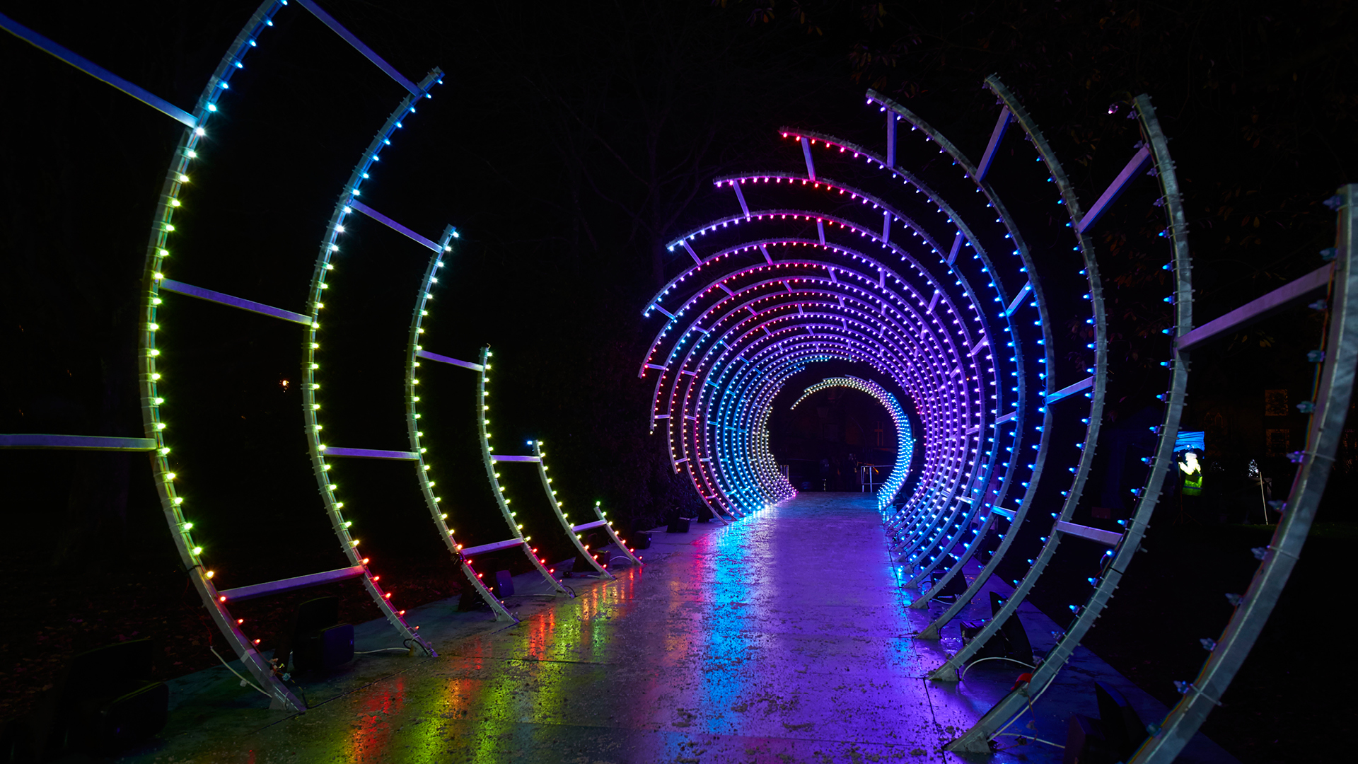 Light Tunnel, Dan Shorten. Guildhall Live Events. Supported by Silverwood Cars. Lumiere Durham 2019, produced by Artichoke | Lumiere Durham | Dan Shorten | STIRworld