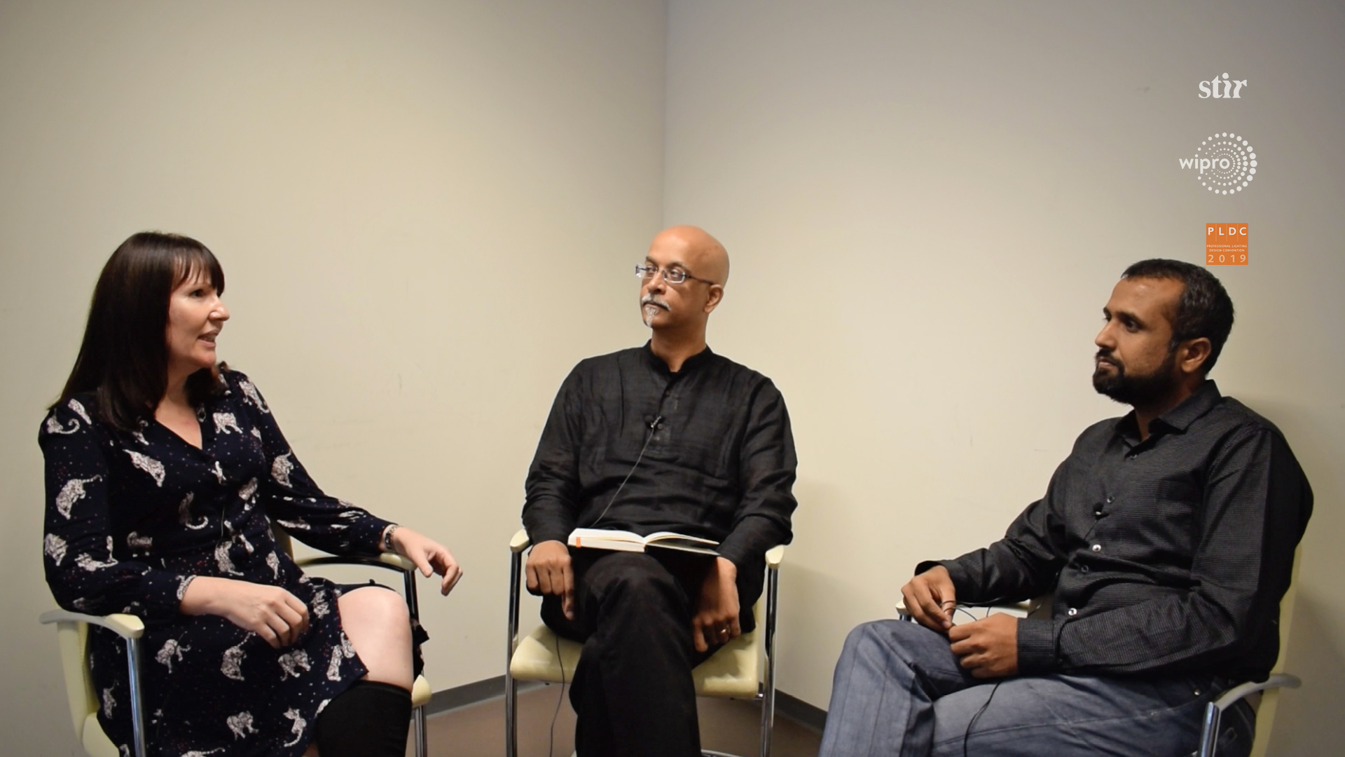 Linus Lopez (centre) in conversation with lighting designers Lorraine Calcott (left) and Nirmit Jhaveri (right), for Spread the Light | Lorraine Calcott| Nirmit Jhaveri | PLDC 2019 | Spread the Light| STIRworld