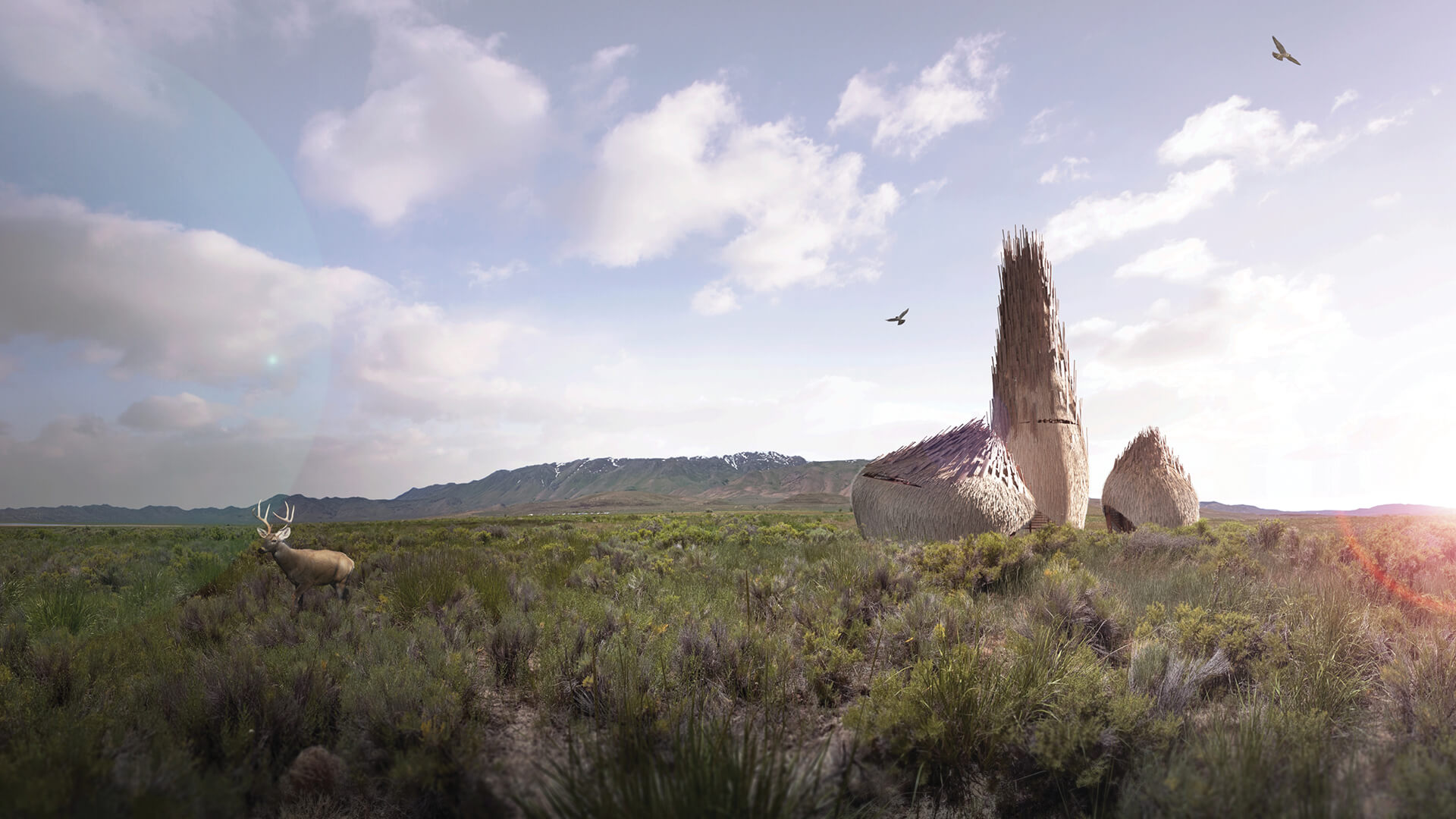 Lodgers: Serendipity in the Fly Ranch Wilderness by Zhicheng Xu and Mengqi Moon. The top-ranked submission to the LAGI 2020 Fly Ranch Design Challenge| Land Art Generator Initiative and Burning Man Project | STIRworld