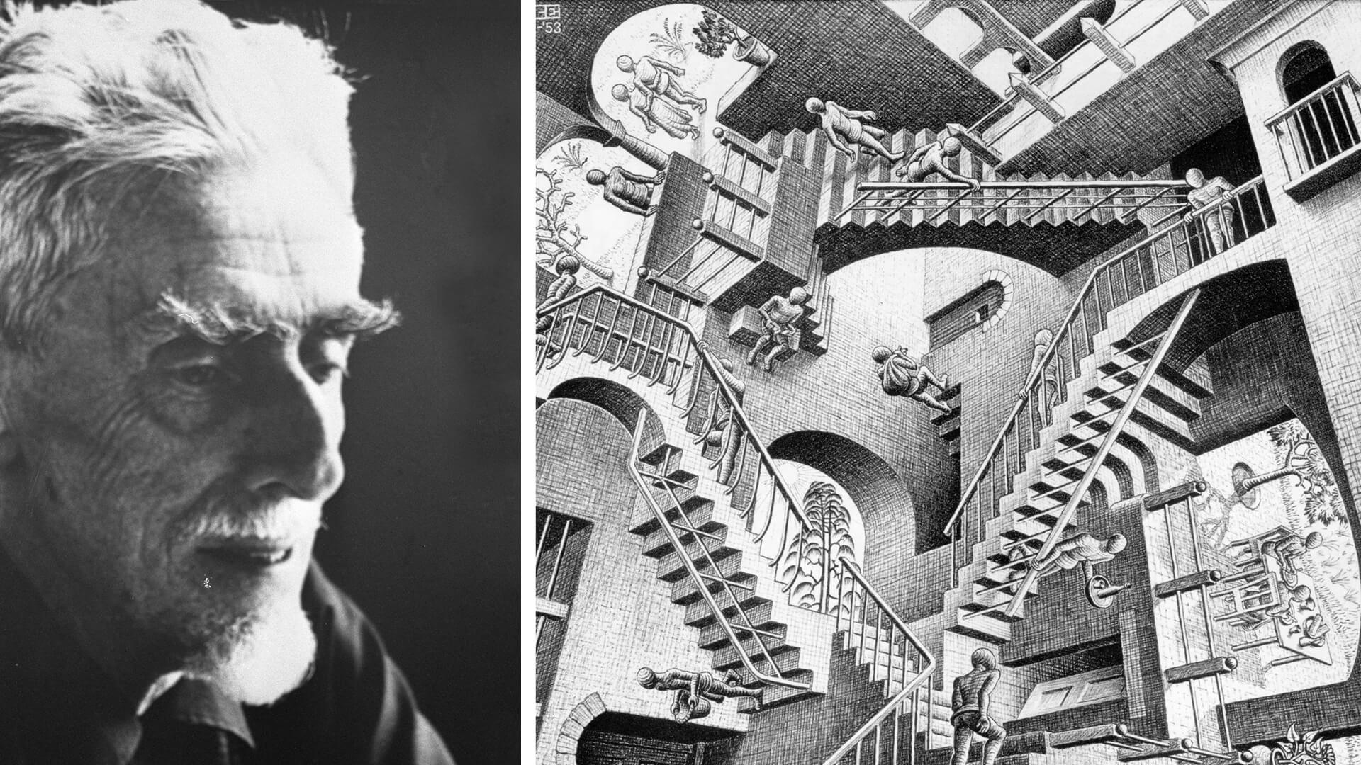 MC Escher, and (R): Escher's 'Relativity' lithograph, 1953 | Maurits Cornelis Escher | STIRworld