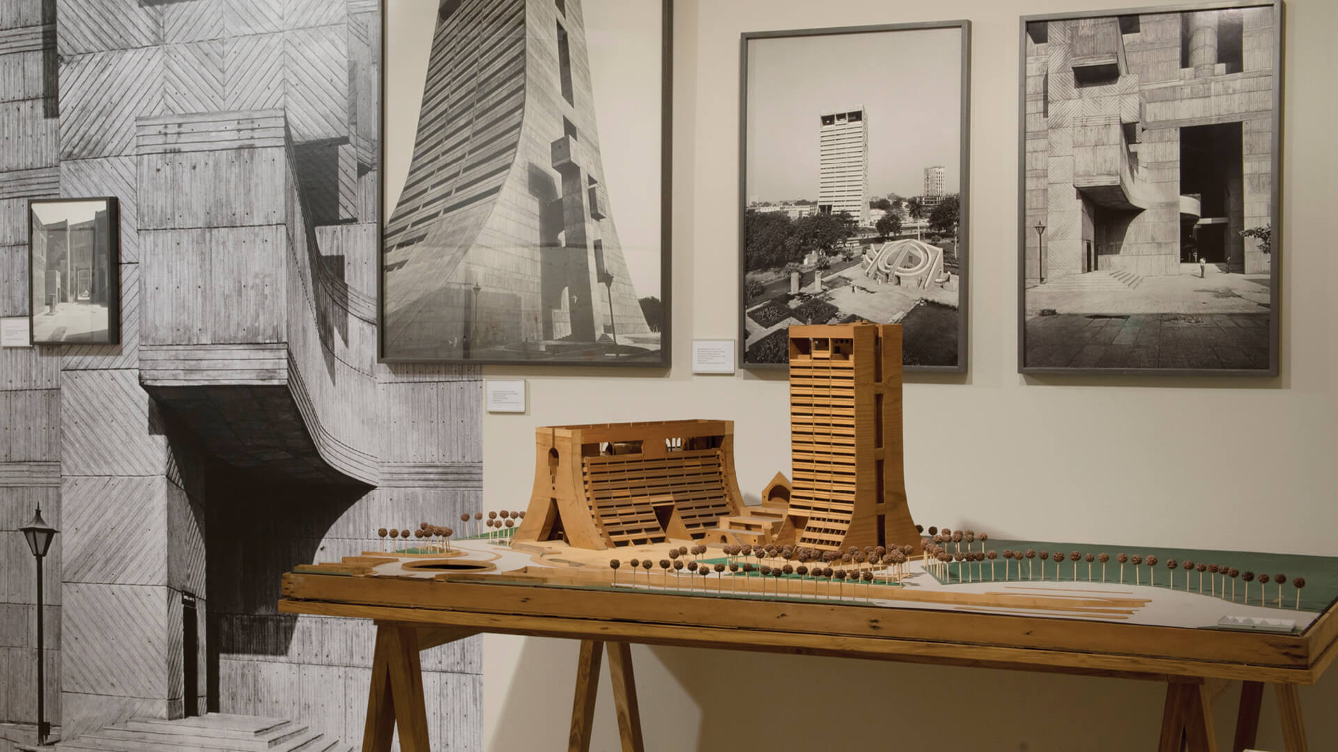 Model and photographs of Kuldip Singh-designed National Cooperative Development Corporation (NCDC) building captured at the 2017 exhibition 'Delhi: Building the Modern' curated by Ram Rahman | Kuldip Singh tribute | STIRworld