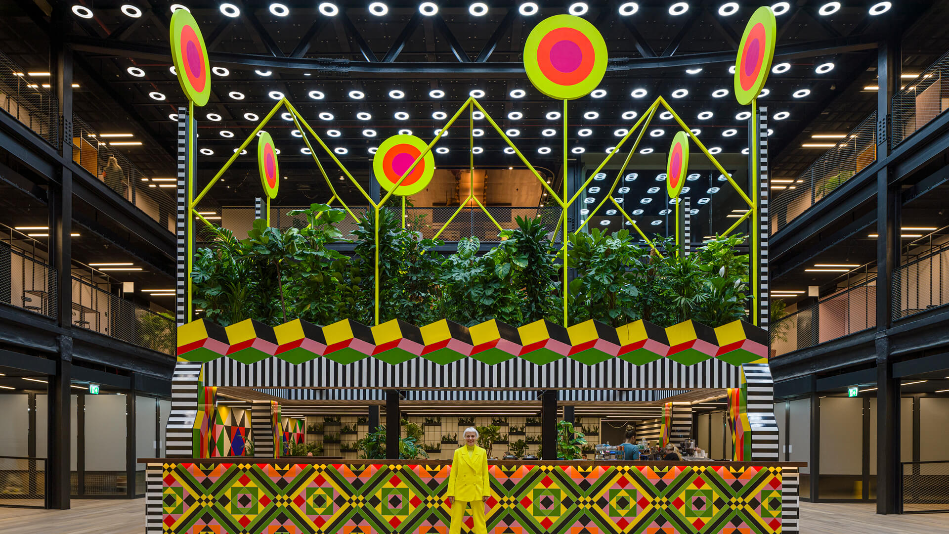 Morag Myerscough with her biophilic installation <em>Atoll</em> at Finsbury Avenue Square, Broadgate, London  | Morag Myerscough | Women in Design 2020+ | STIRworld