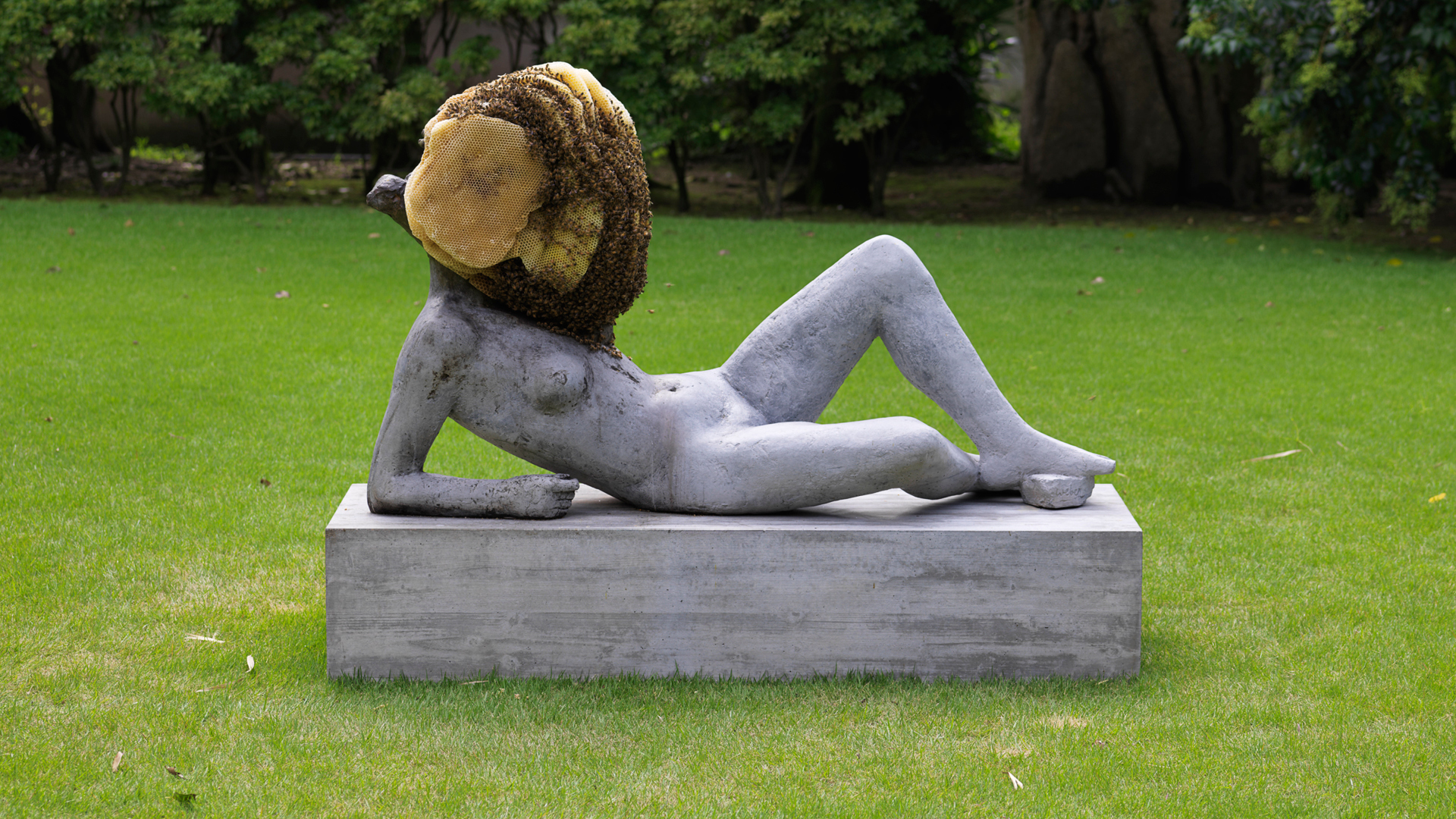 Pierre Huyghe, Untitled, 2012, concrete cast on steel armature with patina, beehive, collection of Ishikawa Foundation, supported by Yamada Bee Farm Corporation; Esther Schipper, Berlin | Okayama Art Summit | Japan | STIRworld