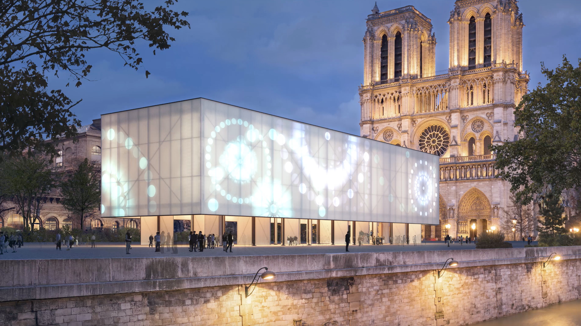Gensler proposes a temporary pavilion in front of the Notre-Dame Cathedral