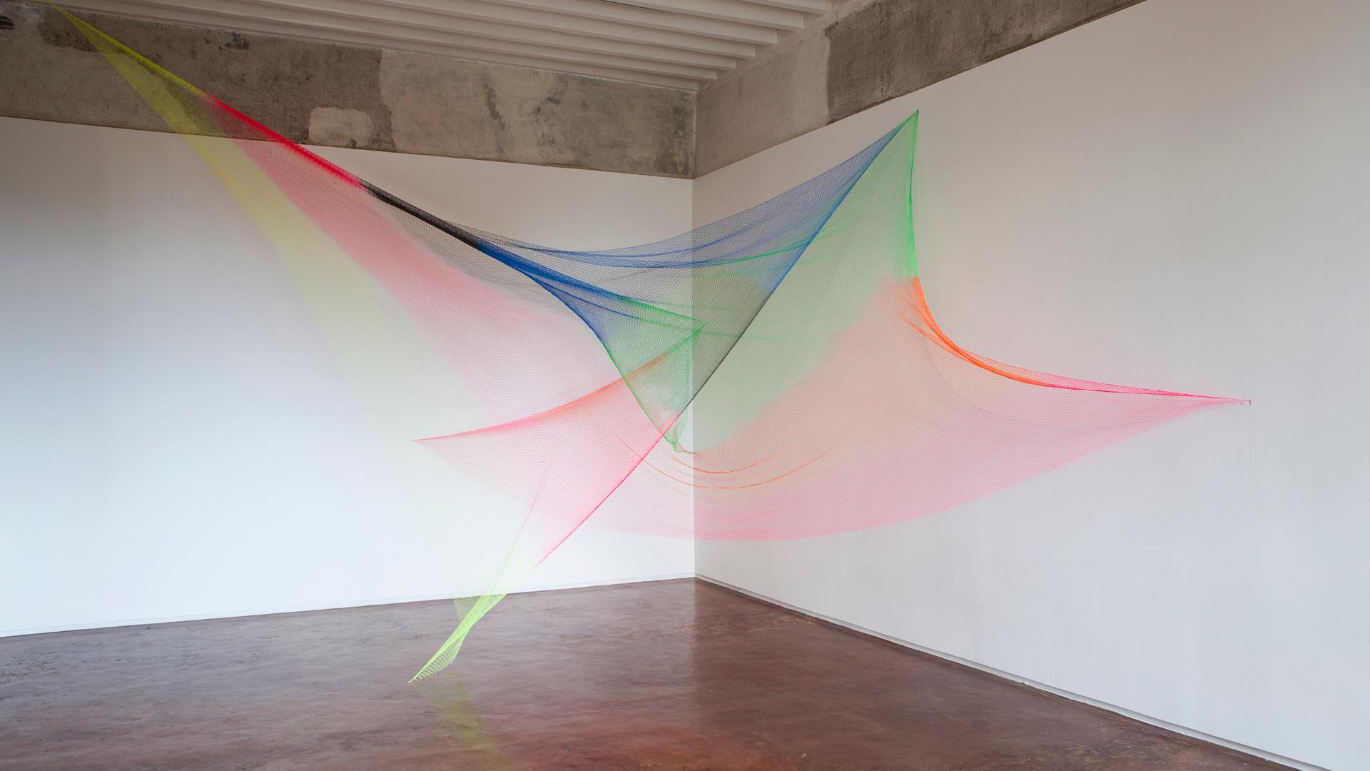 Rana Begum, No. 950 Net, 2019, spray painted fishing net, dimensions variable | Rana Begum | STIRworld