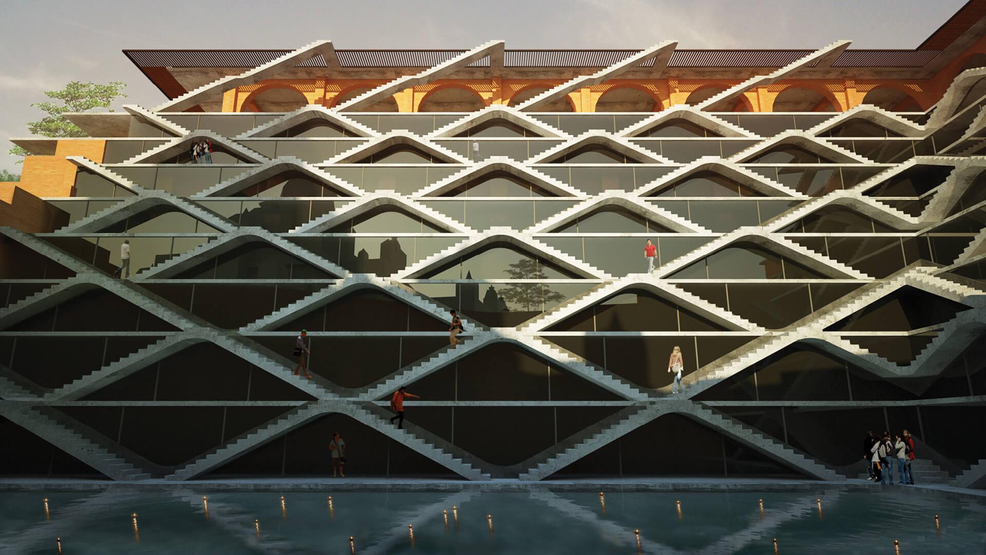 Rendering of the stepped facade   Sanskriti Vihara   Spasm Design   STIRworld