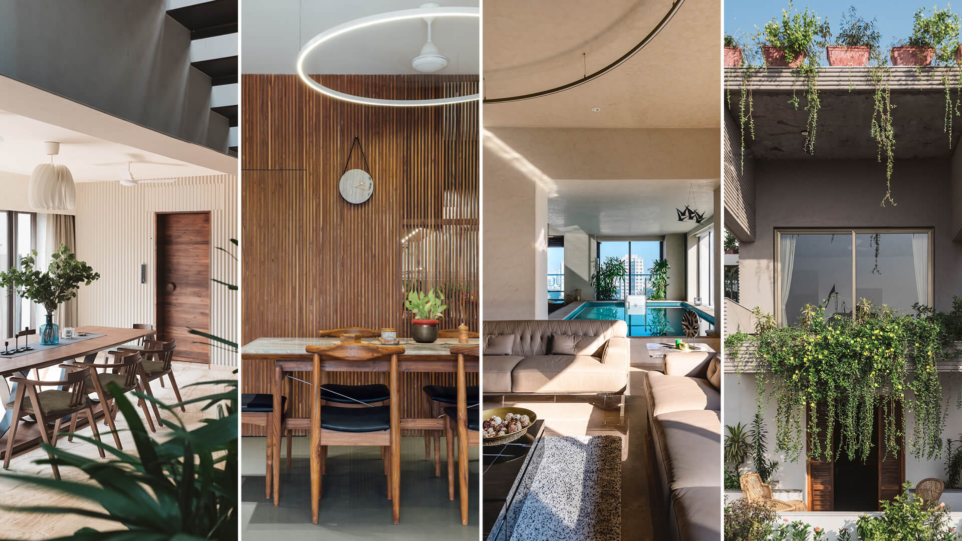 Residential projects in India by Studio Neogenesis (L-R): Sarpanch House – Dining Area; Sattva – Dining Area; Pool House – Living Room, and Jungalow House - Elevation | Neogenesis + Studi0261 | India | STIRworld